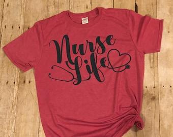 5f3a46396 nurse life tee,womens nures life,rn life,nurse shirt,lpn shirt,cna shirt