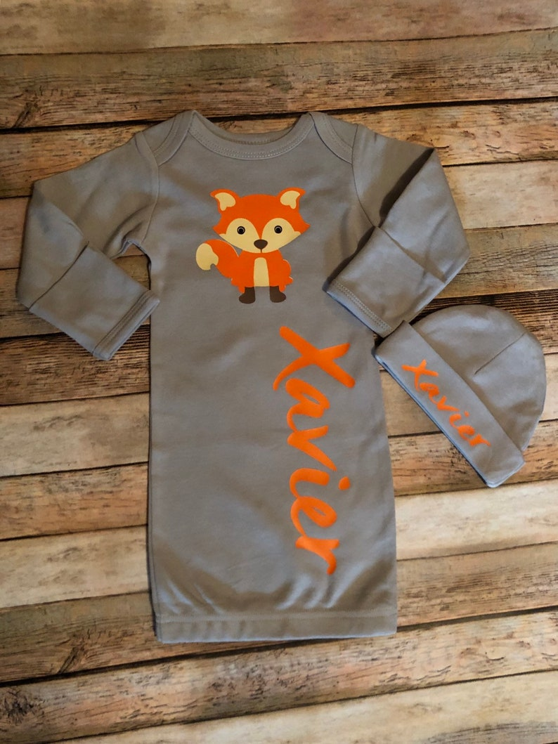Newborn take me home set,coming home gown set,woodland baby set,woodland fox outfit