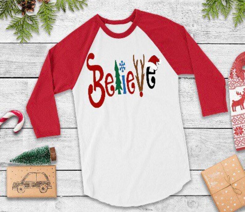 aa64b25fcace0 Believe christmas shirt,youth believe tee,kids christmas tee,santa  shirt,christmas raglan