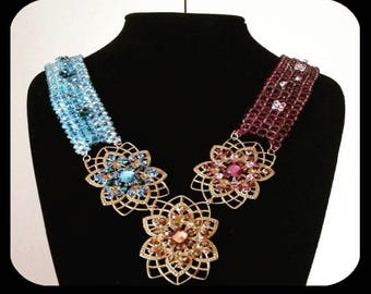 Spring Necklace with Crystals