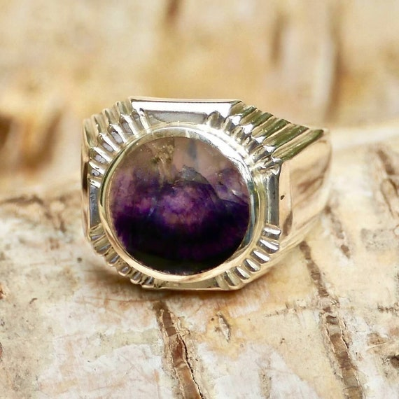 Sterling Ring Gift For Her Gift For Mother Natural Blue John Ring in 925 Sterling Silver Christmas Gift Silver Ring Blue John Ring