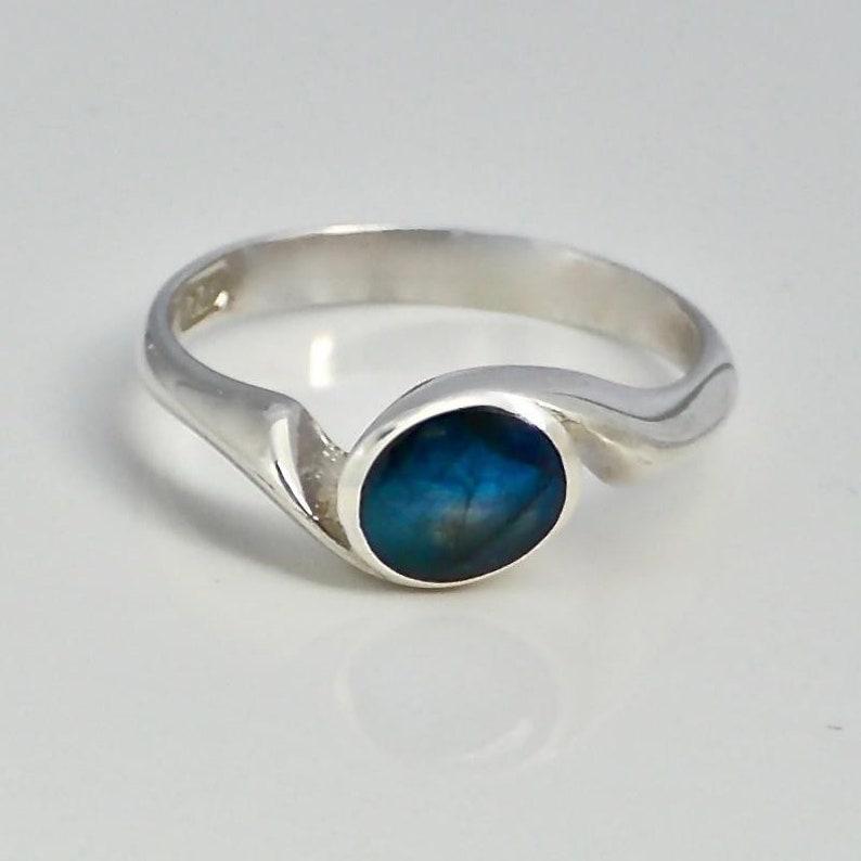 Labradorite Ring Sterling Silver Swirl Design Handmade