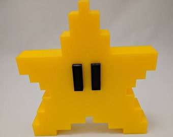 Mario star tree topper | Pixel | Christmas | Decoration | Ornament