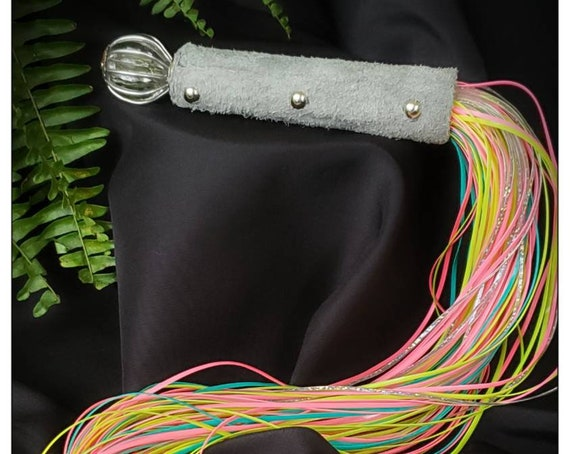 Plastic lacing flogger- grey suede