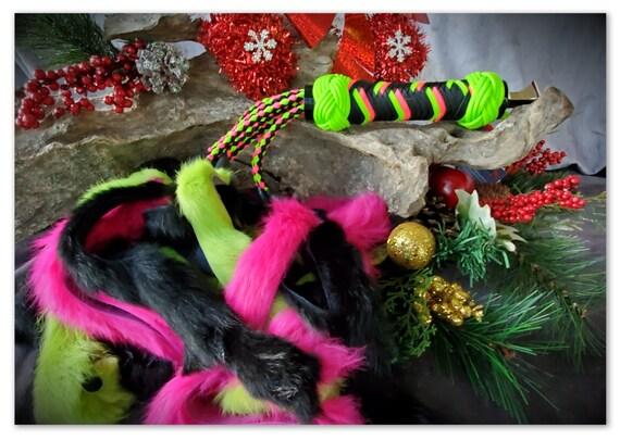 RTS - Neon Green & Pink Rabbit Flogger