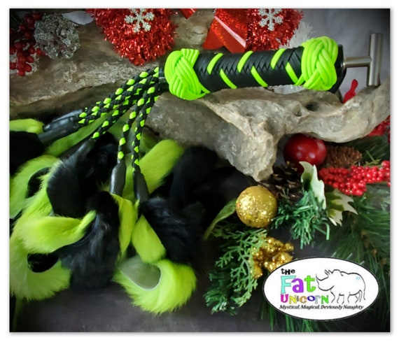 RTS - Black & Neon Green Rabbit Flogger