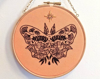 Finished hand embroidery, butterfly line art, butterfly embroidery, unique home decor, butterfly textile art, peony embroidery, gingko leaf