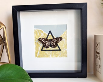 Framed Butterfly - Glassy Tiger - on Gold Lino Print Collage