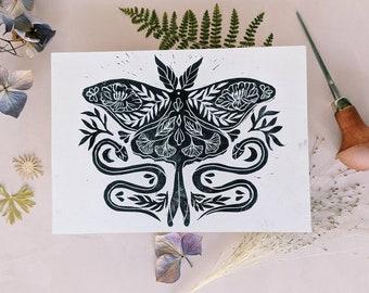 Original lino cut print butterfly and snakes, handmade butterfly and snakes botanical design, hand printed wall art, 5 X 7 lino snake print