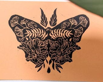 Original A5 lino cut print butterfly, handmade butterfly and botanical design, hand printed wall art