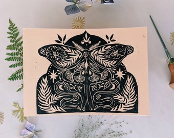 Original lino cut print butterfly and snakes, handmade butterfly and snakes botanical 5 x 7 print, hand printed wall art for nature lovers