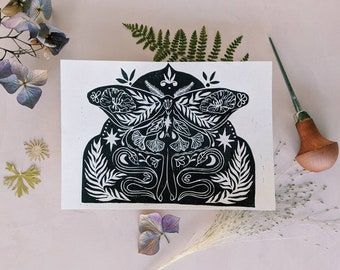 Original lino cut print butterfly and snakes, hand printed butterfly and snake print, lino print wall art, nature print 5 X 7