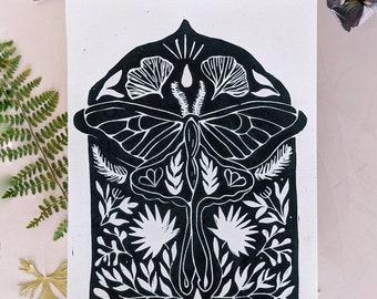 Original lino cut print moth surreal nature design, handmade moth and botanical design, hand printed wall art 5 x 7, contemporary print
