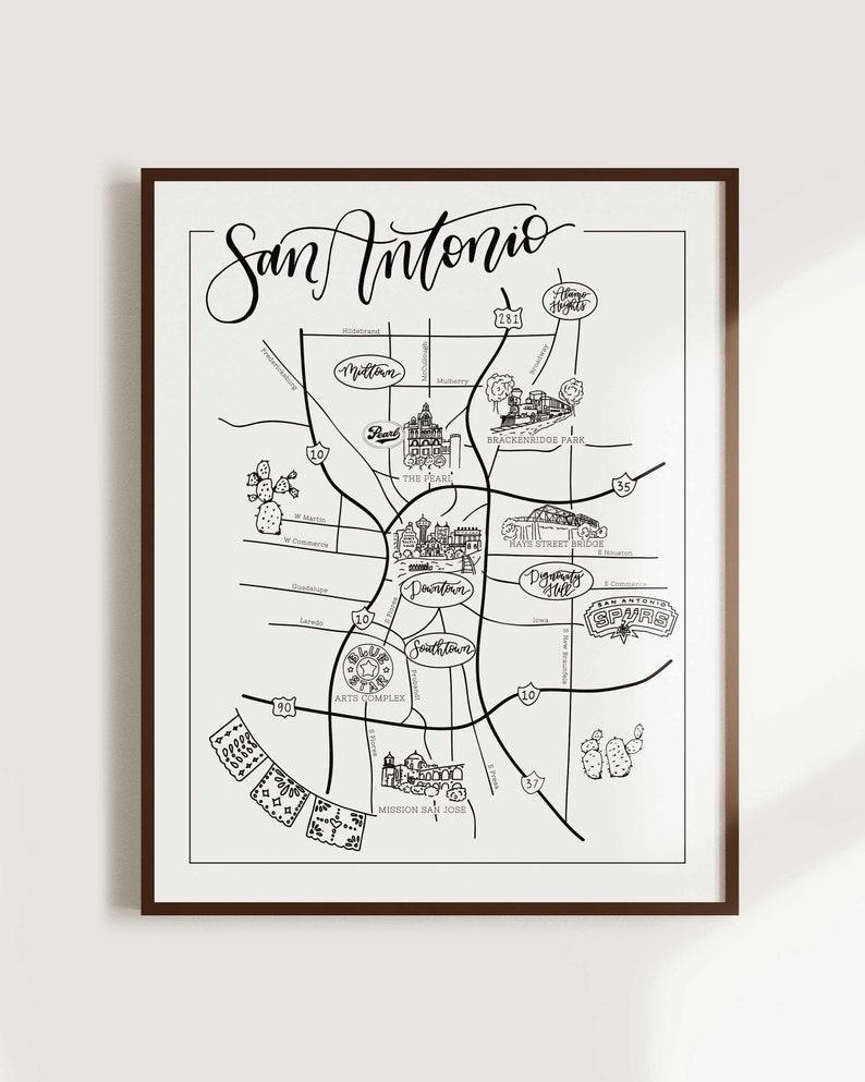 San Antonio Illustrated City Map, Texas Map, Texas wall art print, nursery  decor, wall art, state map poster, USA travel map