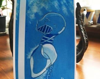Binary Stars Pastel Steampunk Robot Art Print, 4x6