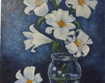 Flowers oil painting, still life picture, Painting Original  Oil  Canvas