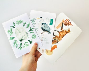 Set of any 3 Greeting Cards - nature inspired watercolor illustration with pressed botanicals printed on matt cardstock paper