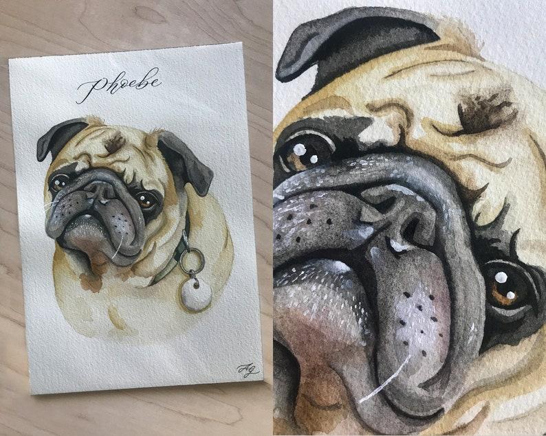 CUSTOM Watercolor Pet Portrait Pet Gift Dog or Cat Portrait image 0