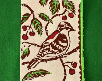 Woodpecker on Ivory Paper - 5 Original Lino Block Print Notecards
