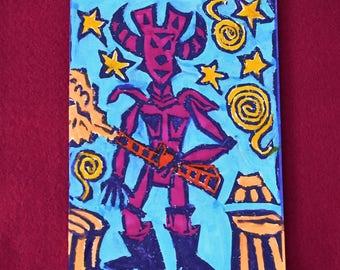 Robot Monster - 5 original lino block print note cards