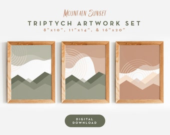 Mountain Sunset Wall Art | 3 Piece Set | Printable Digital Download | 3 Sizes | Abstract Artwork | Modern Boho Triptych Art Collection