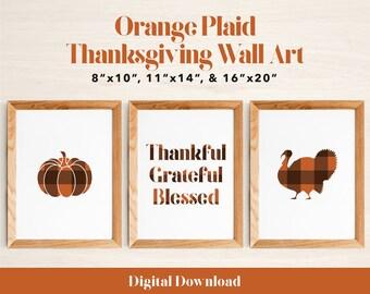 Rustic Orange Plaid Thanksgiving Wall Art Bundle | Set of 3 Art Prints | Pumpkin, Turkey, Grateful Thankful Blessed | Digital Download