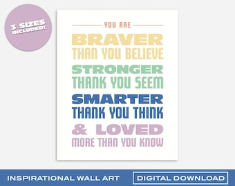 Braver, Stronger, Smarter, Loved Rainbow Wall Art | Printable Digital Download | 3 Sizes | Bold and Colorful Design for Kids Room or Nursery