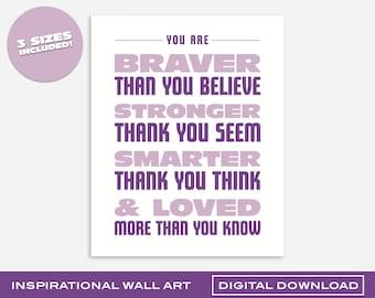 Braver, Stronger, Smarter, Loved Purple Wall Art | Printable Digital Download | 3 Sizes | Bold and Colorful Design for Kids Room or Nursery