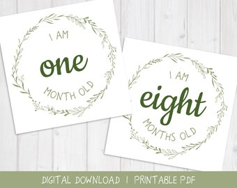 Baby Monthly Milestone Card | Green Wreath Design for Boy or Girl | Printable Sage Green PDF Baby Month Card Photo Prop | Digital Download