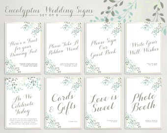 "Eucalyptus Wedding Sign Collection, Set of 8, Size 5x7"" and 8x10"" Printable PDF Digital Download"