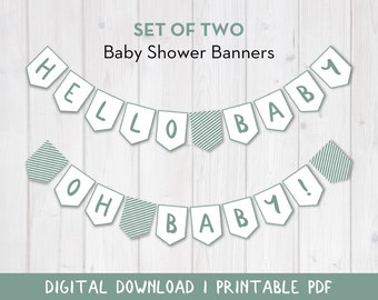Baby Shower Banner Printable Set of 2 | Sage Green Handdrawn Border Design | Baby Banner Value Pack | Printable PDF with Cutting Guides