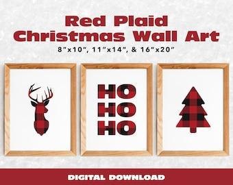 Rustic Red Plaid Christmas Wall Art Bundle | Set of 3 Digital Art Prints | Ho Ho Ho, Reindeer, and Christmas Tree Design | Digital Download