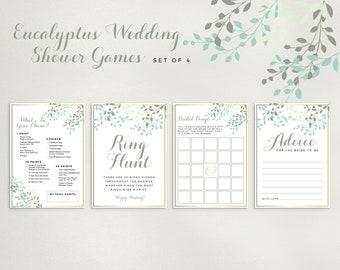 "Eucalyptus Wedding Shower Games, Set of 4, Size 5x7"" and 8x10"" Printable PDF Digital Download | Bridal Shower"