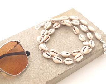 c457560a6f01 Cowrie Shells Sunglasses Holder for Women, Boho Sunglasses Necklace, Sea  Shells Glasses Strap for Her, Pocoloco Eyewear Accessories