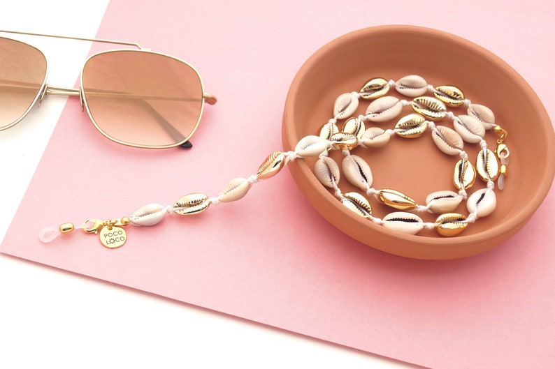 03fad408db90 Gold Cowrie Shells Sunglasses Holder for Women Boho | Etsy