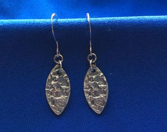 Sterling silver dangle earrings, small marquis, textured, oxidized