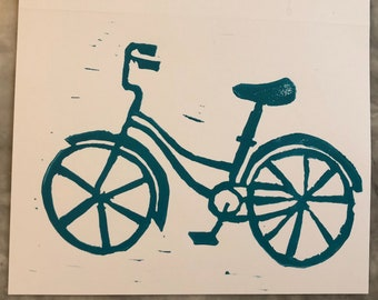 Teal Bike Blank Cards and Envelopes
