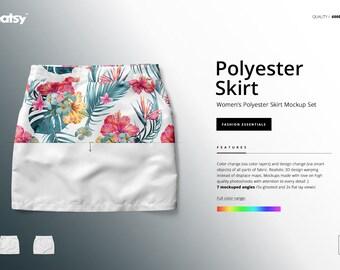 f1f7fafecba4e Women's Polyester Skirt Mockup Set, Skirt Tempalte, Custom Skirt