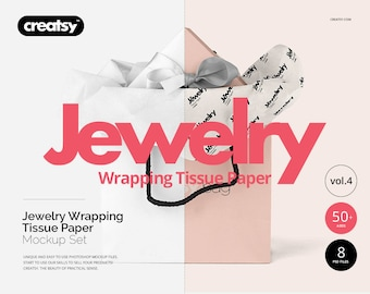 Download Free Jewelry Wrapping Tissue Paper Mockup Set, Giftwrap, Gift Bag, Gift BoX, Custom Template, Paper Mockup, Digital PSD Template