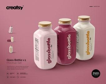 Download Free Glass Bottle Mockup Set v.1, Personalized Bottle, Glass Bottle Template, Milk Bottle, PSD Template
