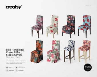 Ikea Henriksdal Chairs Bar Stools Covers Mockup Set Chair Cover Template Personalized Stool PSD