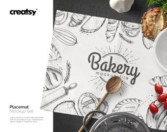 Placemat Mockup Set, Placemat Template, Custom Napkin, Personalized