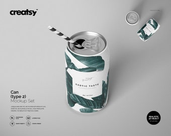 Download Free Can Mockup Set (type 1), Can Tempalte, Custom Soda Can, Personalized Can, Can Label Mockup, Personalized Lablel PSD Template
