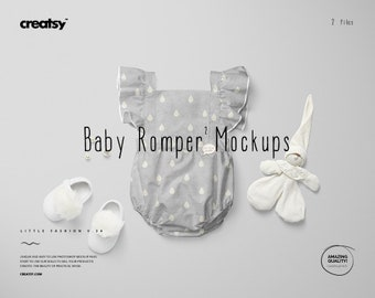 Download Free Baby Romper 2 Mockup Set (Little Fashion Series: VOL.34), Bodysuit Tempalte PSD Template