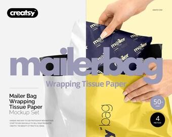 Mailing Bag Wrapping Tissue Paper Mockup Set, Giftbag, Mailerbag, Custom Tempalte, Gift Wrap, Custom Mailing Bag