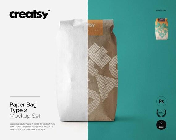 Paper Bag Mockup Set Coffee Bag Template Kraft Bag Flour   Etsy