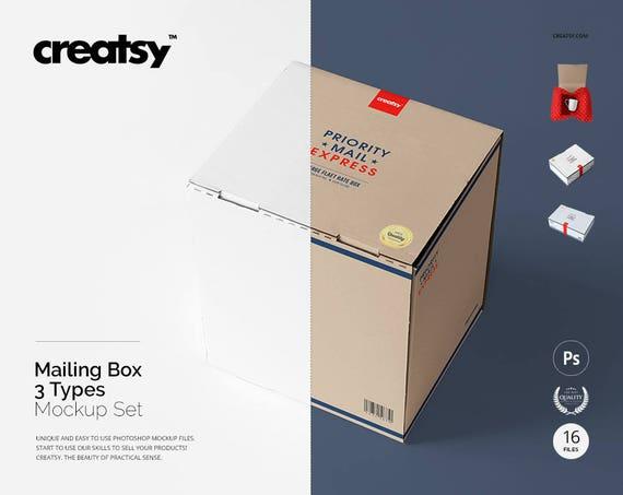 Mailing Box Mockup Kraft Boxes Cardboard Template Mail