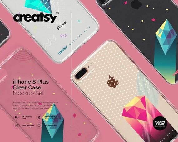 IPhone 8 Clear Case Mockup Set Custom Phone Template