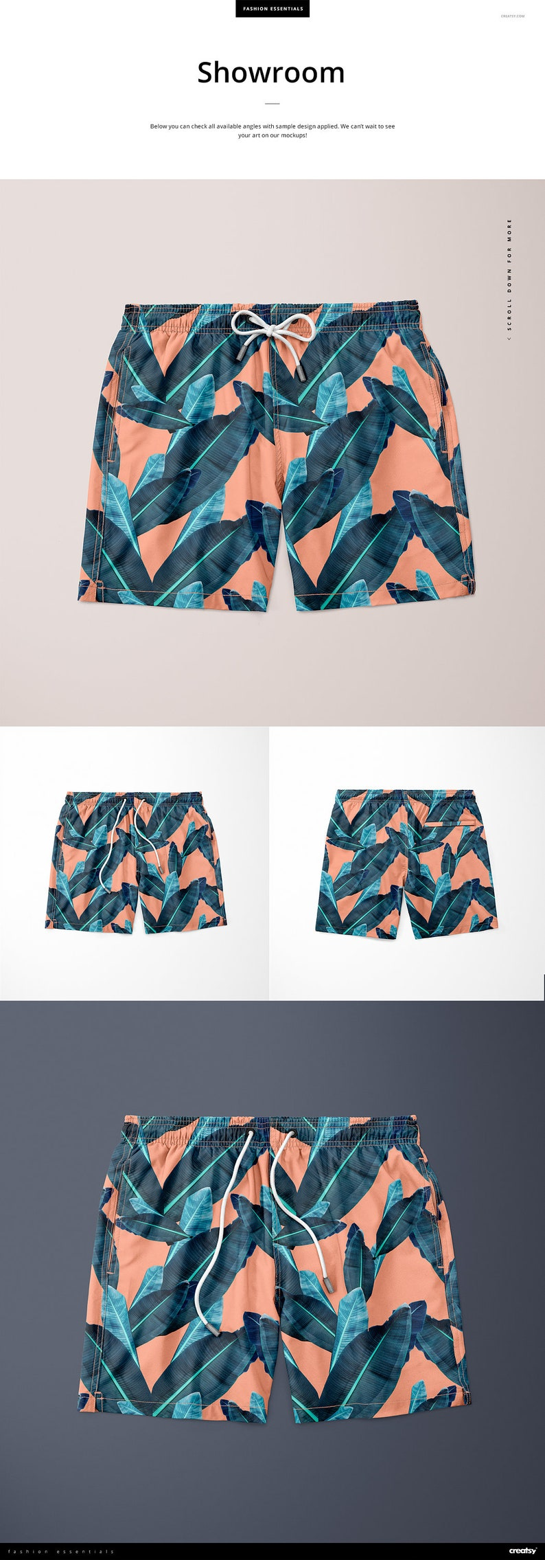 0626e271d8c47 Men's Swim Trunks Mockup Set Swim Shorts Tempalte Custom | Etsy