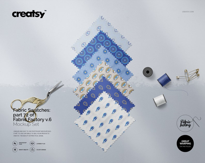 Fabric Swatches Mockup (part 72 of Fabric Factory v 6)
